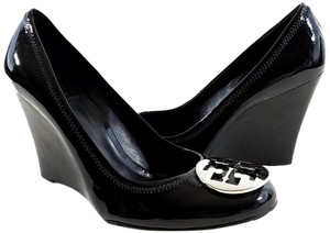 Tory Burch Patent Leather Silver Logo Black Wedges