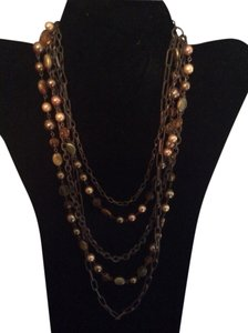 Brown and gold multi layered necklace