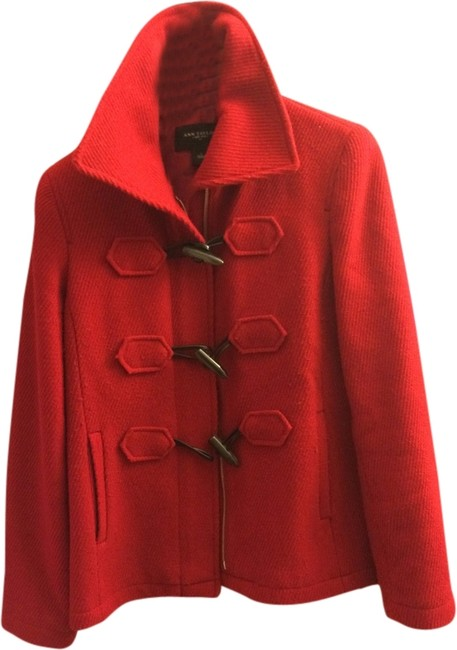 Item - Red Toggle Winter Stand Up Collar Wool Coat Size 4 (S)