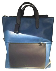 Coach Foldover Tote in Black Antique nickel/DENIM/MIDNIGHT