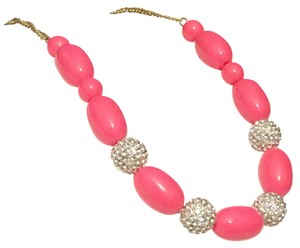 J.Crew J Crew Hot Pink Rhinestone Pave Crystal Beaded Necklace