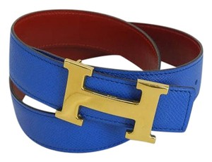 Hermès constance reversible blue h logo belt kit with box