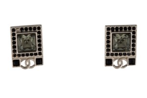 Chanel Silver-tone Chanel crystal Interlocking CC logo stud earrings
