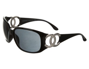 Chanel White, black Chanel crystal Interlocking CC logo sunglasses