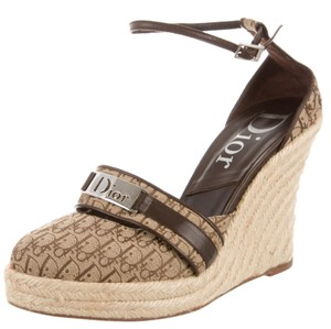 Dior Monogram Brown, Beige Platforms