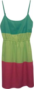 BeBop short dress Pink and Lime Color-blocking Spring on Tradesy