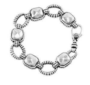 Lagos Lagos Caviar Bracelet Sterling Silver Rocks Link & Faceted Stations