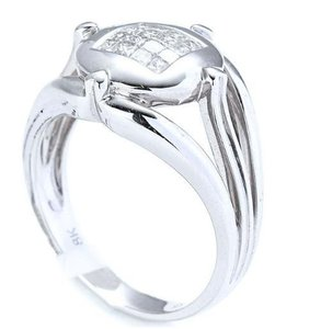 M&J 18K White Gold Diamonds Ring