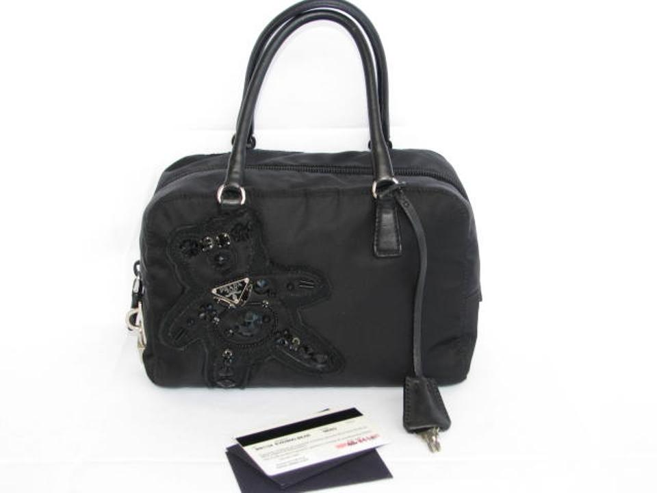 a0c93e4356 Prada Nylon Beaded Microfiber Satchel in Black Image 11. 123456789101112
