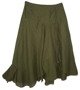 Anthropologie Lil Asymmetric Ruffled Green Skirt