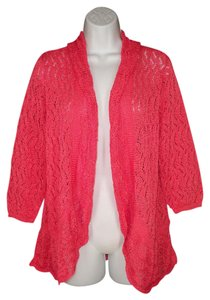 Chico's Coral Knit Pointelle Open Front Cardigan