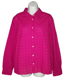 Talbots Pink Cotton Eyelet Cut Out Button Down Shirt