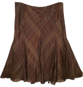 Lauren Ralph Lauren Silk Plaid A-line Satin Skirt