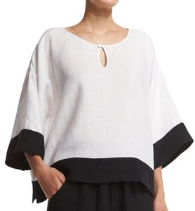 Eskandar Linen Colorblock Tunic Top White