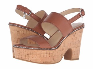 Coach A01175 Quartz Saddle Semi Matte Leather Wedge Sandals Multi-Color Platforms