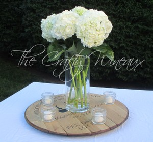 Rustic Barn Wedding Centerpiece Bourbon Barrel Rustic Mason Jar Table Arrangement Hydrangea Center Piece Wedding