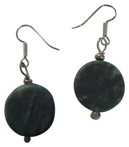 handmade NEW Handmade ROUND Green Marble Stone EARRINGS NWOT