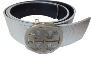 Tory Burch Tory Burch Reverible Belt Silver/Navy with Silver Buckle Size XXS