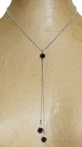 Rachel Tagged Rachel Silver Tone Black Crystal Lariat Choker Necklace
