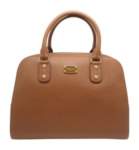 Michael Kors Leather Satchel in Luggage brown
