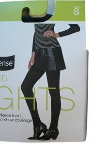 Two Pairs No Nonsense Black Brushed Tights Size Small