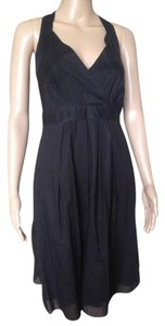 Theory short dress Black Cotton Flared Empire Cross Overtop Racer Lined on Tradesy