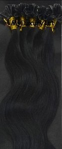 100 Strands Jet Black Body Wavy U Tip Fusion 50g Hair Extensions