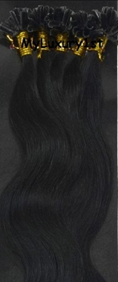 Myluxury1st Black 100 Strands Jet Body Wavy U Tip Fusion 50g Hair