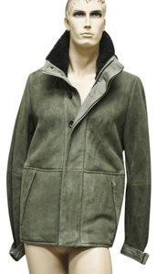 Gucci Suede Leather Coat Green Jacket