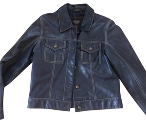Coach #coach Leather Details Baseball Stitching Navy blue Leather Jacket