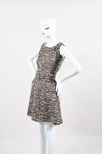 Chanel 07a Brown Yellow Red Metallic Cotton Wool Tweed Belted Dress