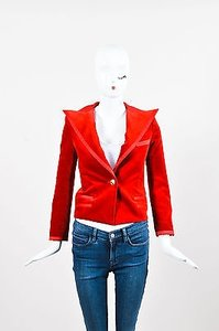 Balmain Balmain Red Velvet Satin Trim Gold Tone Metal Single Button Fitted Blazer Jacket