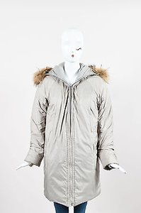 Helmut Lang Light Nylon Padded Fur Trim Hooded Parka P Coat
