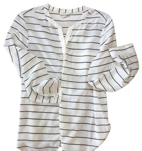 Joie Button Down Top White/striped