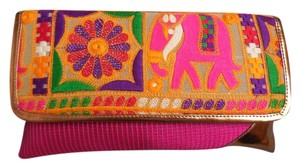 India Colorful Fuchsia Clutch
