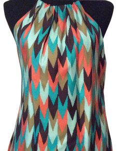 MILLY Top Teal with multi color