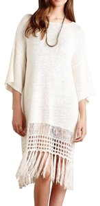 Anthropologie short dress Off-White Sweater Boho Fringe on Tradesy