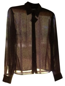 Ann Taylor LOFT Fall Top Brown tiny print