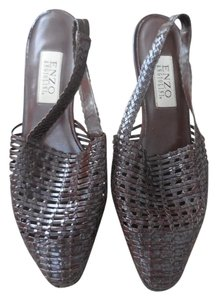 Enzo Angiolini Woven Slingback Brown Sandals