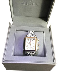 Michele Michele Silver Watch with Leather Animal Print Band
