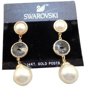 Swarovski NOS Swarovski Pearl Dangle Earrings - MOC