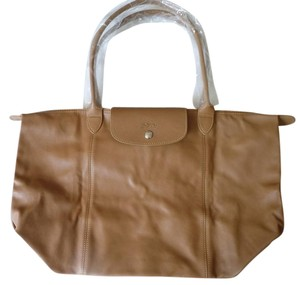 Longchamp Lambskin Tote in natural brown
