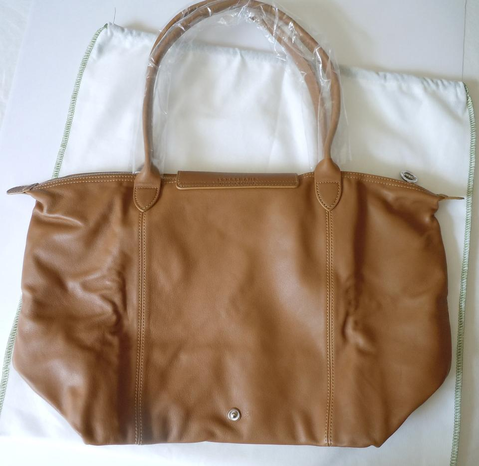 00c69cbdd3ec Longchamp Le Pliage Cuir Nwot Large Made In France Dustbag Natural Brown  Lambskin Leather Tote