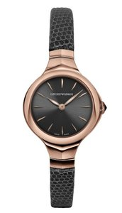 Emporio Armani Emporio Armani Swiss ARS8003 Gray Dial Rose Gold Lizard Strap Watch