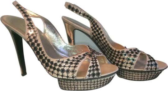 Sergio Rossi Champagne with gold and black sequins Platforms