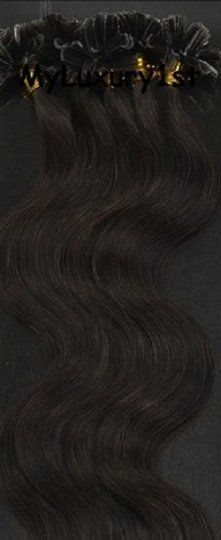 MyLuxury1st Darkest Brown 50 Grams U Tip Fusion Hair Extensions Body Wavy