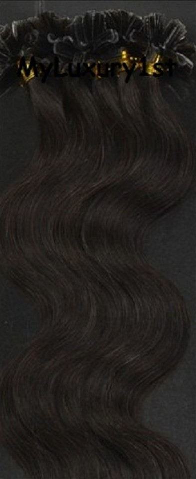 Myluxury1st Darkest Brown 50 Grams U Tip Fusion Hair Extensions Body