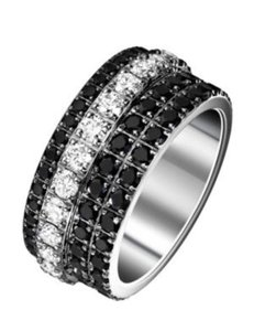 Piaget Piaget Possession Eccentric White Gold Diamond Onxy Ring US Size 7.25