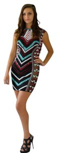 Jovani Tribal Beaded Homecoming Chevron Dress