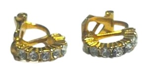 Gold Tone Crystal Clip On Earrings E1004